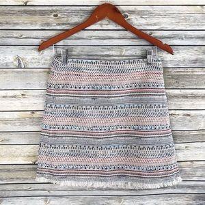 LOFT Multicolor Tweed Raw Fringe Hem Skirt